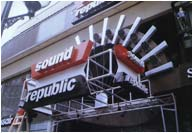 Sound Republic Leicester Square mirror polished stainless steel letters internally lit by neon