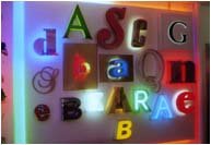 Various architectural 3 dimentional letters. Electro Signs showroom