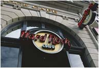 Hard Rock Café, Cardiff, built up alluminium letters powder coated and illuminated with exposed neon
