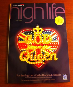 Neon sign for British Airways HighLife magazine