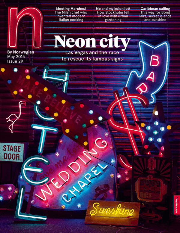 Neon backdrop and interview for Norwegian Air Magazine