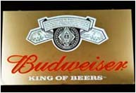 Budweiser laser + stainless steel box lit by neon