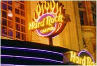Hard Rock Casino neon sign + canopy London