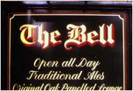 Traditional sign written signs with gold leaf
